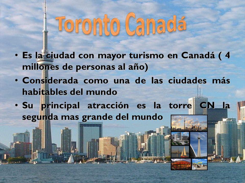 Cuenta con dos aeropuertos: el Internacional Pearson y el Toronto City Centre Cuenta con dos aeropuertos: el Internacional Pearson y el Toronto City Centre Es el centro principal comercial, cultural, financiero, industrial y cinematográfico Es el centro principal comercial, cultural, financiero, industrial y cinematográfico