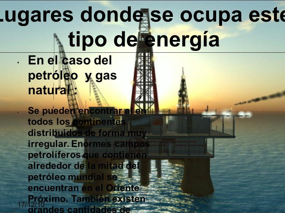 En el caso del petróleo y gas natural : Se pueden encontrar al en todos los continentes distribuidos de forma muy irregular. Enormes campos petrolífer