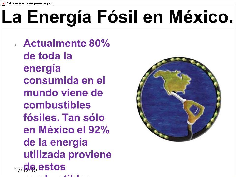 Actualmente 80% de toda la energía consumida en el mundo viene de combustibles fósiles. Tan sólo en México el 92% de la energía utilizada proviene de