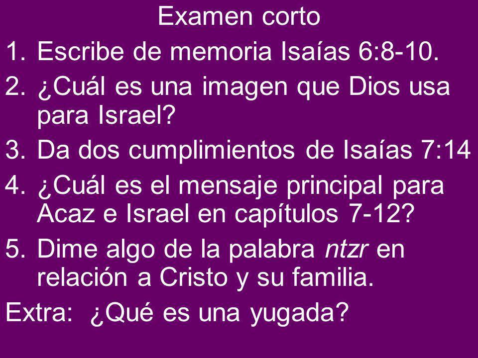 Examen corto 1.Escribe de memoria Isaías 6:8-10.2.¿Cuál es una imagen que Dios usa para Israel.