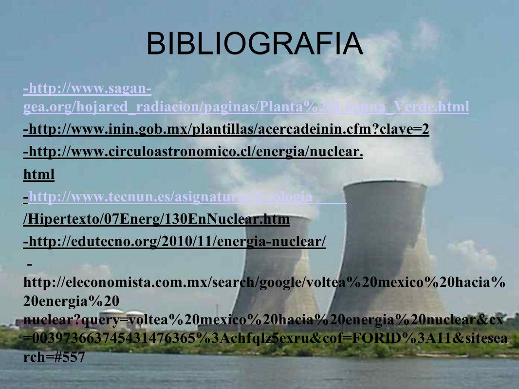BIBLIOGRAFIA -http://www.sagan- gea.org/hojared_radiacion/paginas/Planta%20Laguna_Verde.html -http://www.inin.gob.mx/plantillas/acercadeinin.cfm?clave