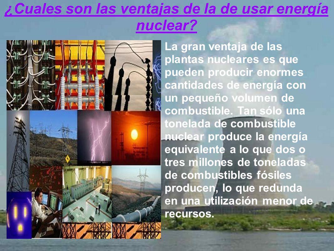 La gran ventaja de las plantas nucleares es que pueden producir enormes cantidades de energía con un pequeño volumen de combustible. Tan sólo una tone