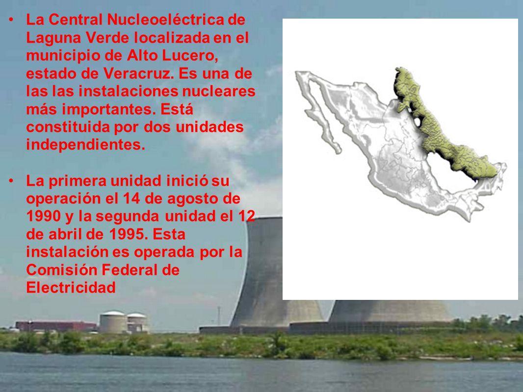 La Central Nucleoeléctrica de Laguna Verde localizada en el municipio de Alto Lucero, estado de Veracruz. Es una de las las instalaciones nucleares má