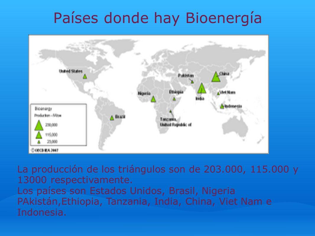 Países donde hay Bioenergía La producción de los triángulos son de 203.000, 115.000 y 13000 respectivamente. Los países son Estados Unidos, Brasil, Ni