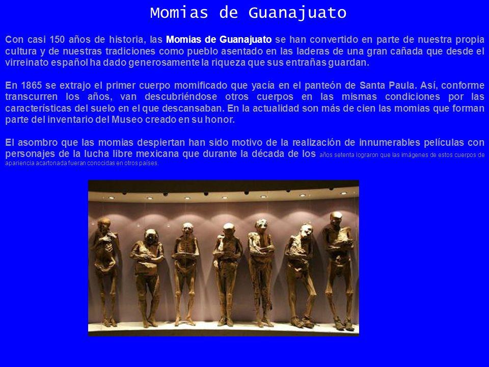 Con casi 150 años de historia, las Momias de Guanajuato se han convertido en parte de nuestra propia cultura y de nuestras tradiciones como pueblo asentado en las laderas de una gran cañada que desde el virreinato español ha dado generosamente la riqueza que sus entrañas guardan.