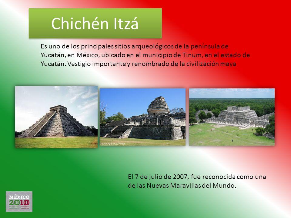 Chichén Itzá Es uno de los principales sitios arqueológicos de la península de Yucatán, en México, ubicado en el municipio de Tinum, en el estado de Y