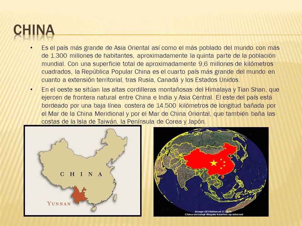 Es el país más grande de Asia Oriental así como el más poblado del mundo con más de 1.300 millones de habitantes, aproximadamente la quinta parte de l