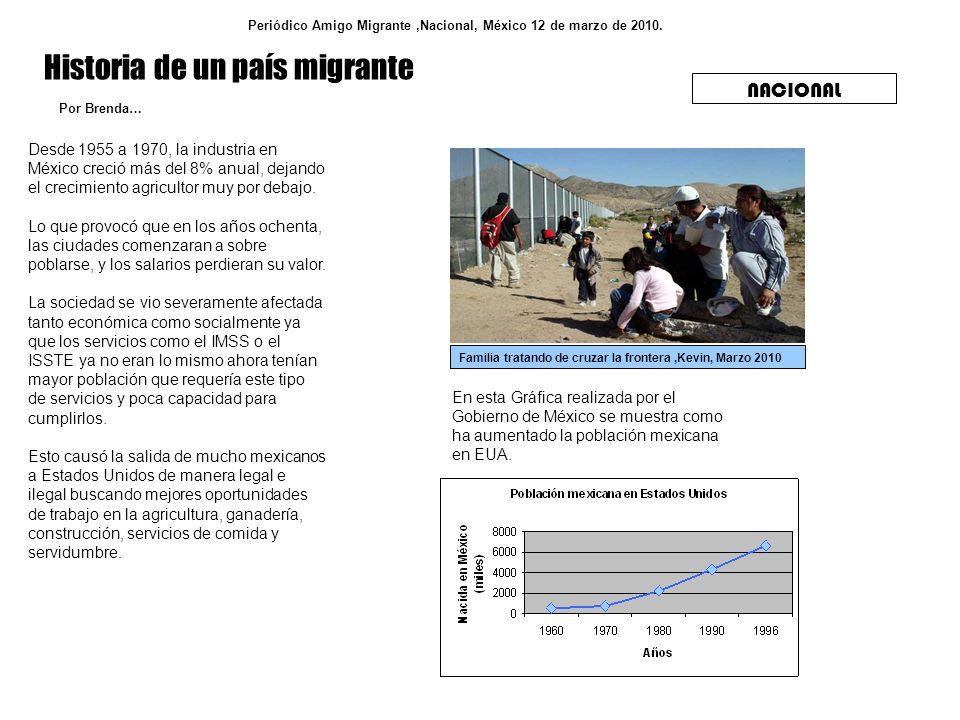 Historia de un país migrante Periódico Amigo Migrante,Nacional, México 12 de marzo de 2010. NACIONAL Desde 1955 a 1970, la industria en México creció