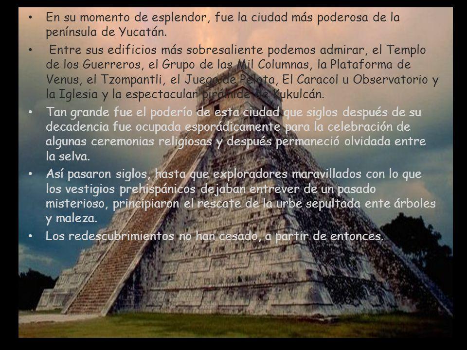 En su momento de esplendor, fue la ciudad más poderosa de la península de Yucatán. Entre sus edificios más sobresaliente podemos admirar, el Templo de