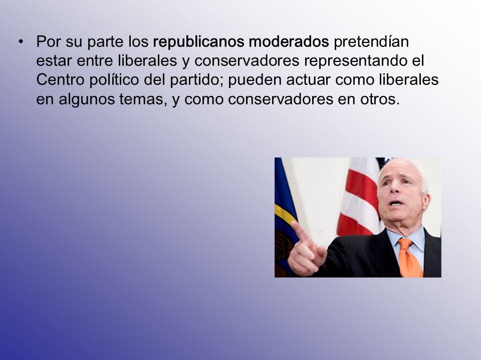 Por su parte los republicanos moderados pretendían estar entre liberales y conservadores representando el Centro político del partido; pueden actuar c