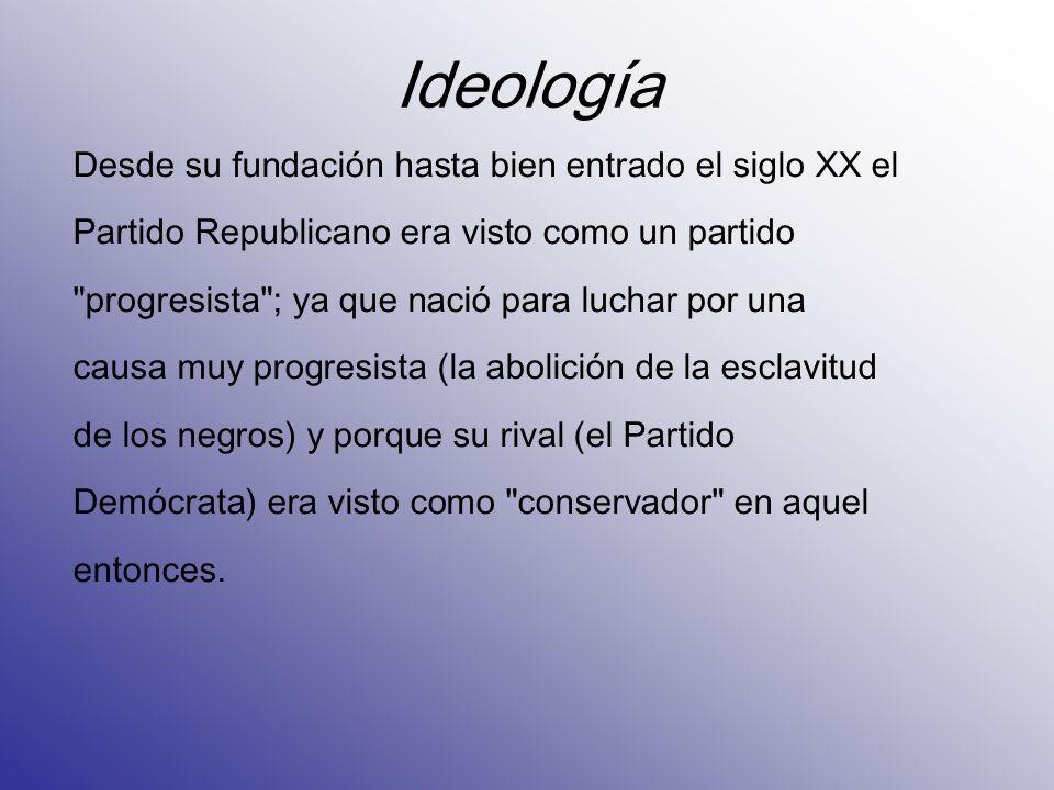 Ideología Desde su fundación hasta bien entrado el siglo XX el Partido Republicano era visto como un partido
