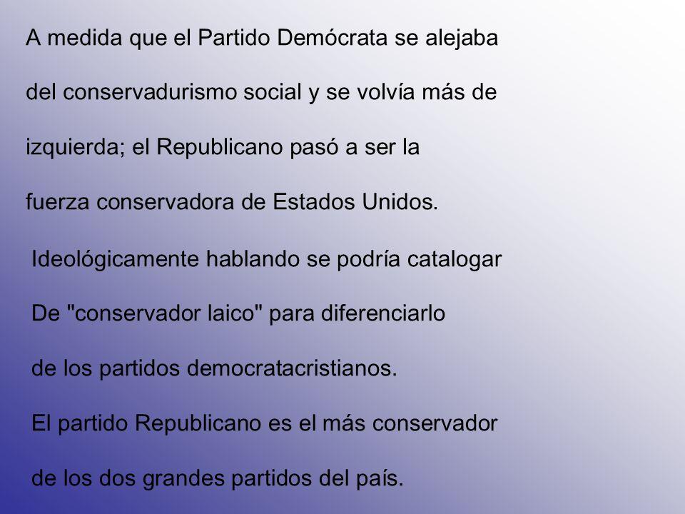 A medida que el Partido Demócrata se alejaba del conservadurismo social y se volvía más de izquierda; el Republicano pasó a ser la fuerza conservadora