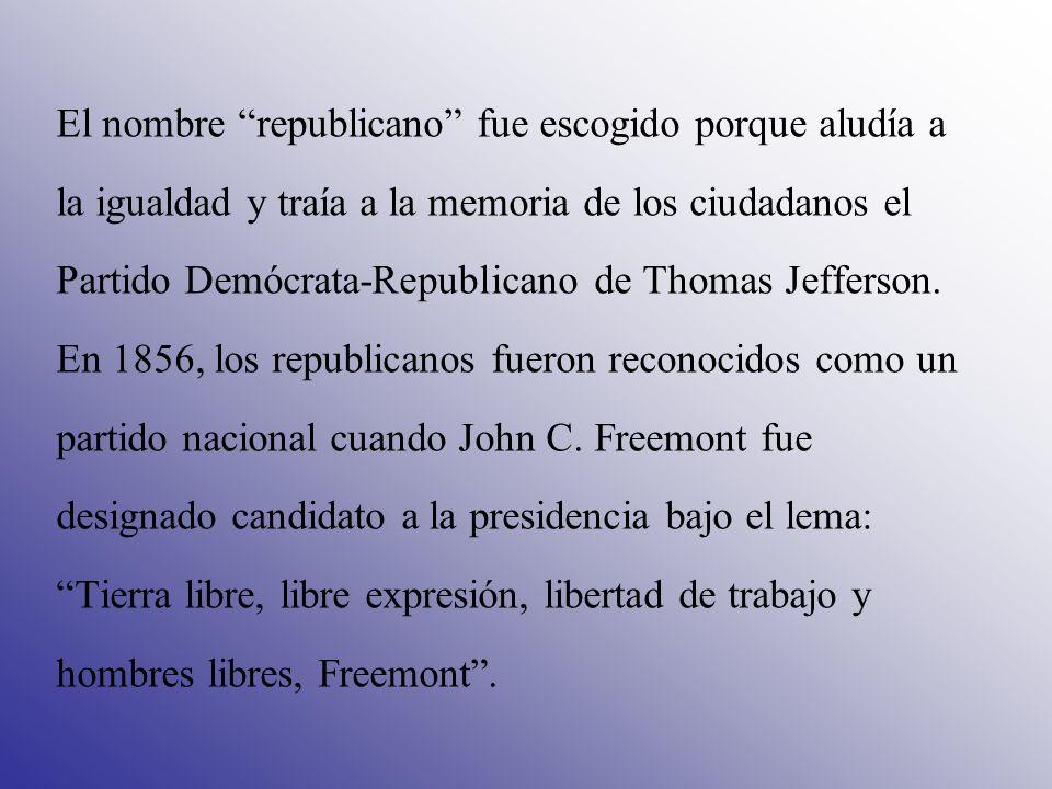 El nombre republicano fue escogido porque aludía a la igualdad y traía a la memoria de los ciudadanos el Partido Demócrata-Republicano de Thomas Jeffe