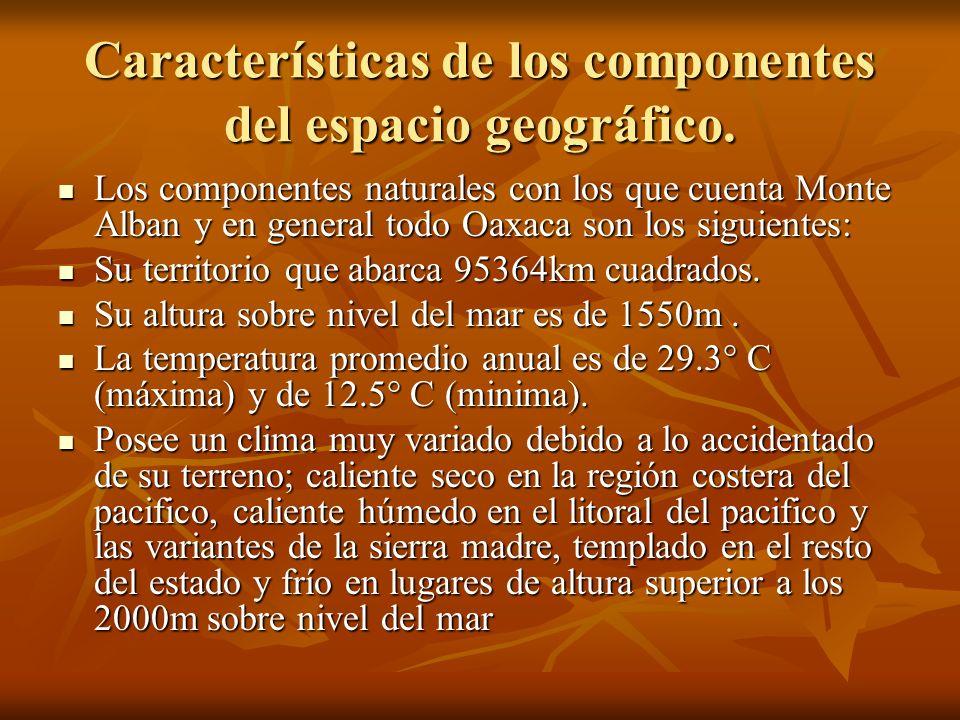 Características de los componentes del espacio geográfico. Los componentes naturales con los que cuenta Monte Alban y en general todo Oaxaca son los s