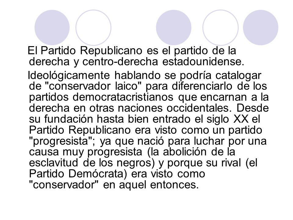 La mayoría de los republicanos pertenecen al grupo étnico de los blancos descendientes de europeos (que son diferenciados en las estadísticas oficiales de los blancos hispanos o latinos), el tipo racial y religioso que durante mucho tiempo fue el más poderoso de Estados Unidos.