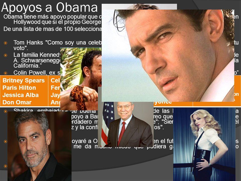 Apoyos a Obama Obama tiene más apoyo popular que cualquier político en el Universo y tiene más amigos en Hollywood que si el propio George Clooney se presentara a Mister Universo.