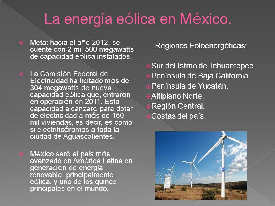 Meta: hacia el a ñ o 2012, se cuente con 2 mil 500 megawatts de capacidad e ó lica instalados. La Comisi ó n Federal de Electricidad ha licitado m á s