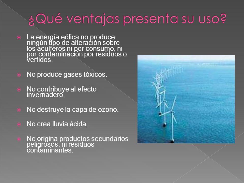 La energía eólica no produce ningún tipo de alteración sobre los acuíferos ni por consumo, ni por contaminación por residuos o vertidos. No produce ga