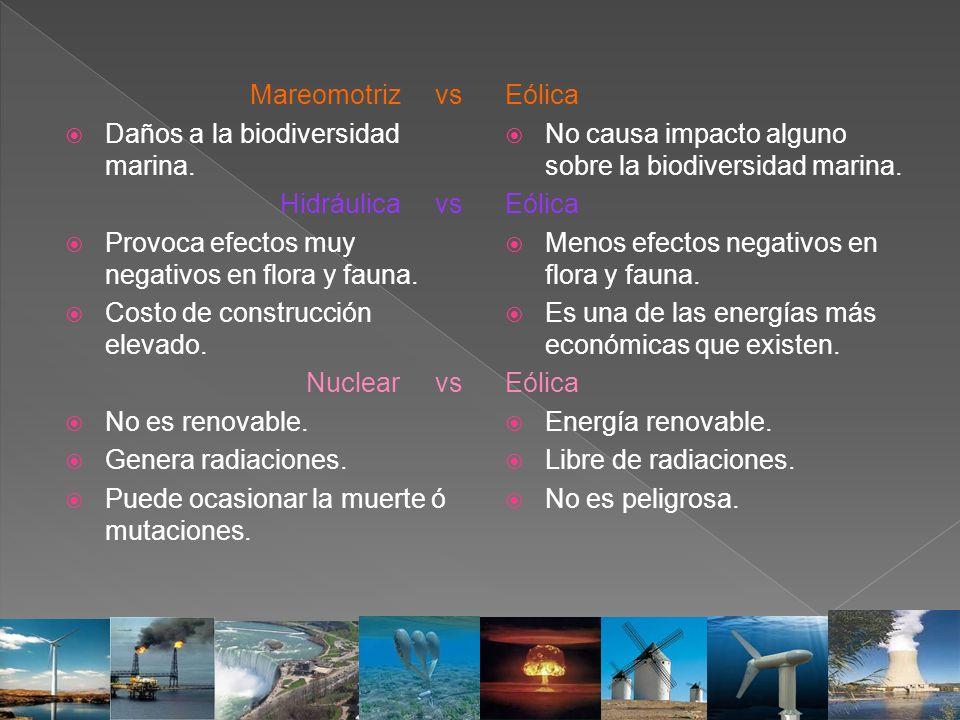 Mareomotriz vs Daños a la biodiversidad marina. Hidráulica vs Provoca efectos muy negativos en flora y fauna. Costo de construcción elevado. Nuclear v