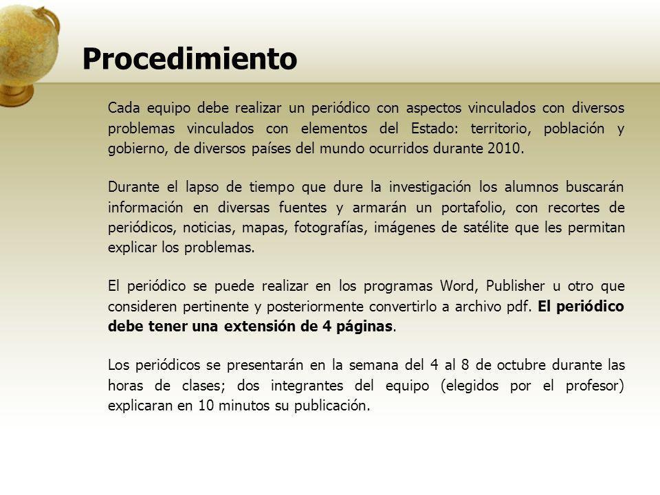 Procedimiento Cada equipo debe realizar un periódico con aspectos vinculados con diversos problemas vinculados con elementos del Estado: territorio, p