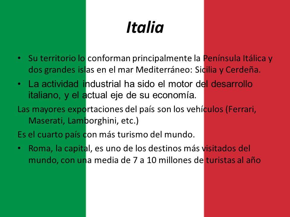 Italia Su territorio lo conforman principalmente la Península Itálica y dos grandes islas en el mar Mediterráneo: Sicilia y Cerdeña. La actividad indu
