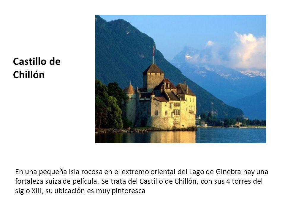 Castillo de Chillón En una pequeña isla rocosa en el extremo oriental del Lago de Ginebra hay una fortaleza suiza de película. Se trata del Castillo d