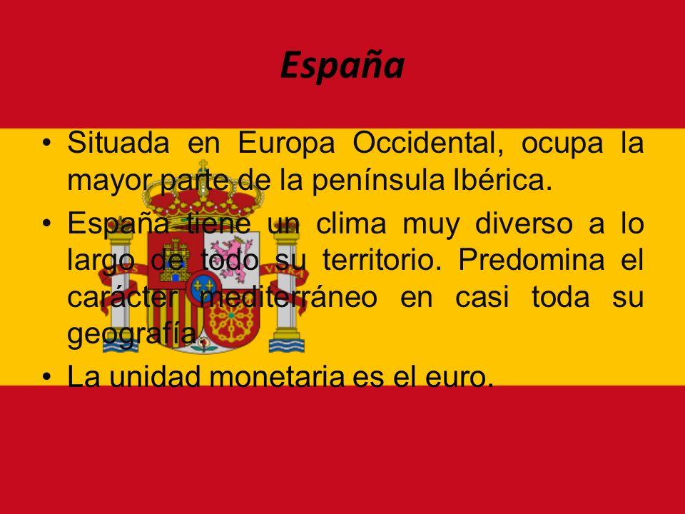 España Situada en Europa Occidental, ocupa la mayor parte de la península Ibérica. España tiene un clima muy diverso a lo largo de todo su territorio.