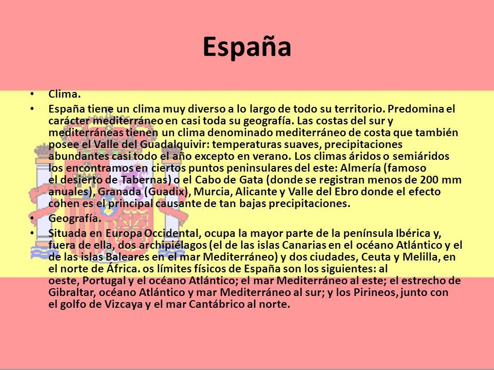 España Clima. España tiene un clima muy diverso a lo largo de todo su territorio. Predomina el carácter mediterráneo en casi toda su geografía. Las co