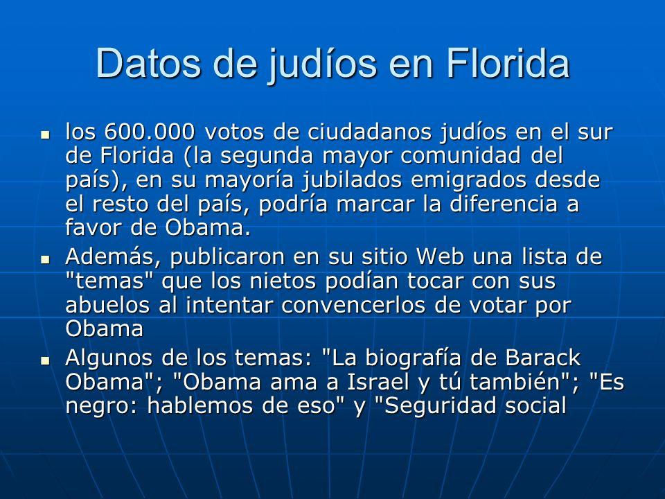 Datos de judíos en Florida los 600.000 votos de ciudadanos judíos en el sur de Florida (la segunda mayor comunidad del país), en su mayoría jubilados