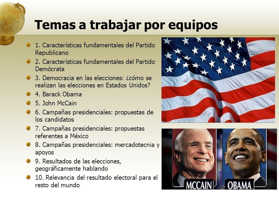 Temas a trabajar por equipos 1. Características fundamentales del Partido Republicano 2.