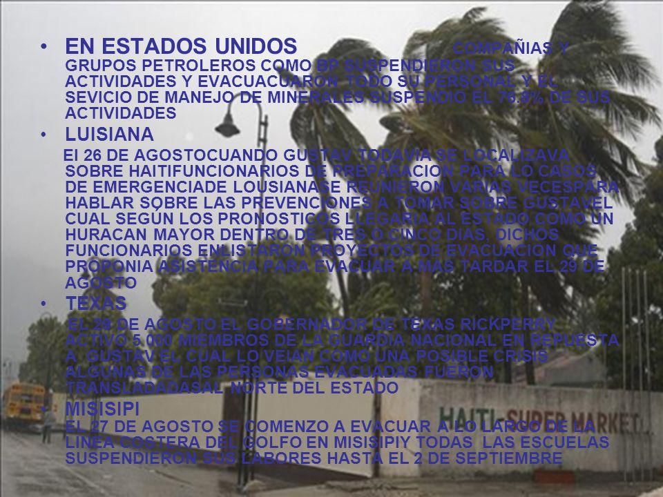 EN ESTADOS UNIDOS COMPAÑIAS Y GRUPOS PETROLEROS COMO BP SUSPENDIERON SUS ACTIVIDADES Y EVACUACUARON TODO SU PERSONAL Y EL SEVICIO DE MANEJO DE MINERALES SUSPENDIO EL 76.8% DE SUS ACTIVIDADES LUISIANA El 26 DE AGOSTOCUANDO GUSTAV TODAVIA SE LOCALIZAVA SOBRE HAITIFUNCIONARIOS DE PREPARACION PARA LO CASOS DE EMERGENCIADE LOUSIANASE REUNIERON VARIAS VECESPARA HABLAR SOBRE LAS PREVENCIONES A TOMAR SOBRE GUSTAVEL CUAL SEGÚN LOS PRONOSTICOS LLEGARIA AL ESTADO COMO UN HURACAN MAYOR DENTRO DE TRES O CINCO DIAS, DICHOS FUNCIONARIOS ENLISTARON PROYECTOS DE EVACUACION QUE PROPONIA ASISTENCIA PARA EVACUAR A MAS TARDAR EL 29 DE AGOSTO TEXAS EL 29 DE AGOSTO EL GOBERNADOR DE TEXAS RICKPERRY ACTIVO 5 000 MIEMBROS DE LA GUARDIA NACIONAL EN REPUESTA A GUSTAV EL CUAL LO VEIAN COMO UNA POSIBLE CRISIS ALGUNAS DE LAS PERSONAS EVACUADAS FUERON TRANSLADADASAL NORTE DEL ESTADO MISISIPI EL 27 DE AGOSTO SE COMENZO A EVACUAR A LO LARGO DE LA LINEA COSTERA DEL GOLFO EN MISISIPIY TODAS LAS ESCUELAS SUSPENDIERON SUS LABORES HASTA EL 2 DE SEPTIEMBRE