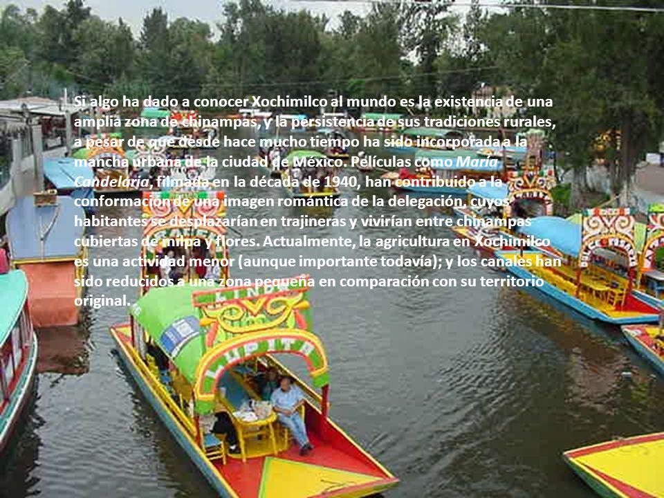 Si algo ha dado a conocer Xochimilco al mundo es la existencia de una amplia zona de chinampas, y la persistencia de sus tradiciones rurales, a pesar de que desde hace mucho tiempo ha sido incorporada a la mancha urbana de la ciudad de México.