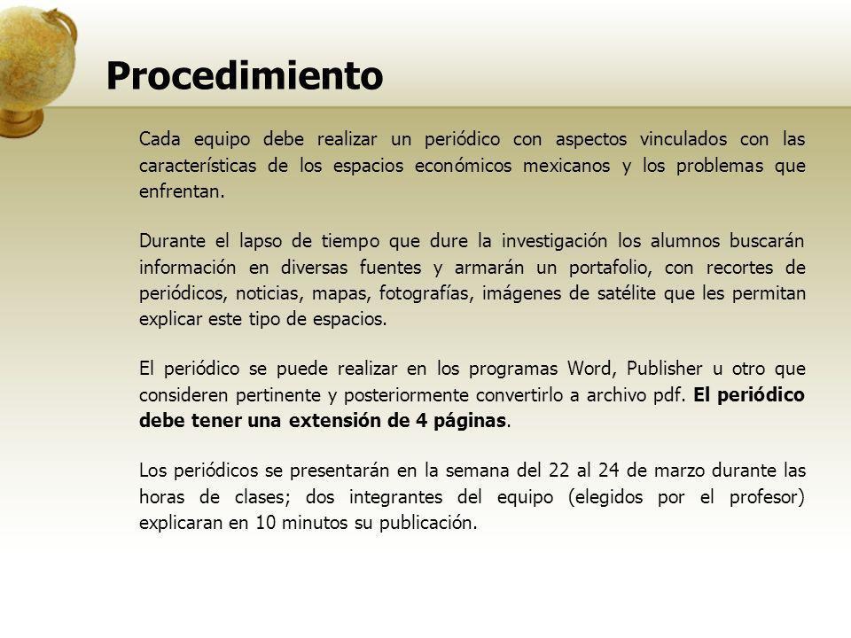 Procedimiento Cada equipo debe realizar un periódico con aspectos vinculados con las características de los espacios económicos mexicanos y los proble