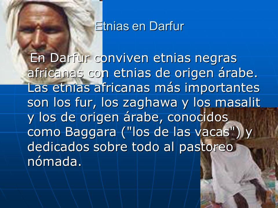 Etnias en Darfur En Darfur conviven etnias negras africanas con etnias de origen árabe. Las etnias africanas más importantes son los fur, los zaghawa