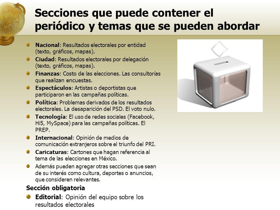 Secciones que puede contener el periódico y temas que se pueden abordar Nacional: Resultados electorales por entidad (texto, gráficos, mapas).