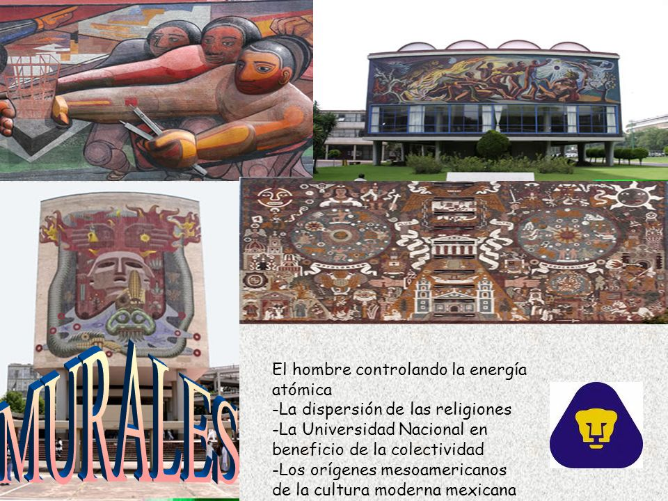 El hombre controlando la energía atómica -La dispersión de las religiones -La Universidad Nacional en beneficio de la colectividad -Los orígenes mesoamericanos de la cultura moderna mexicana