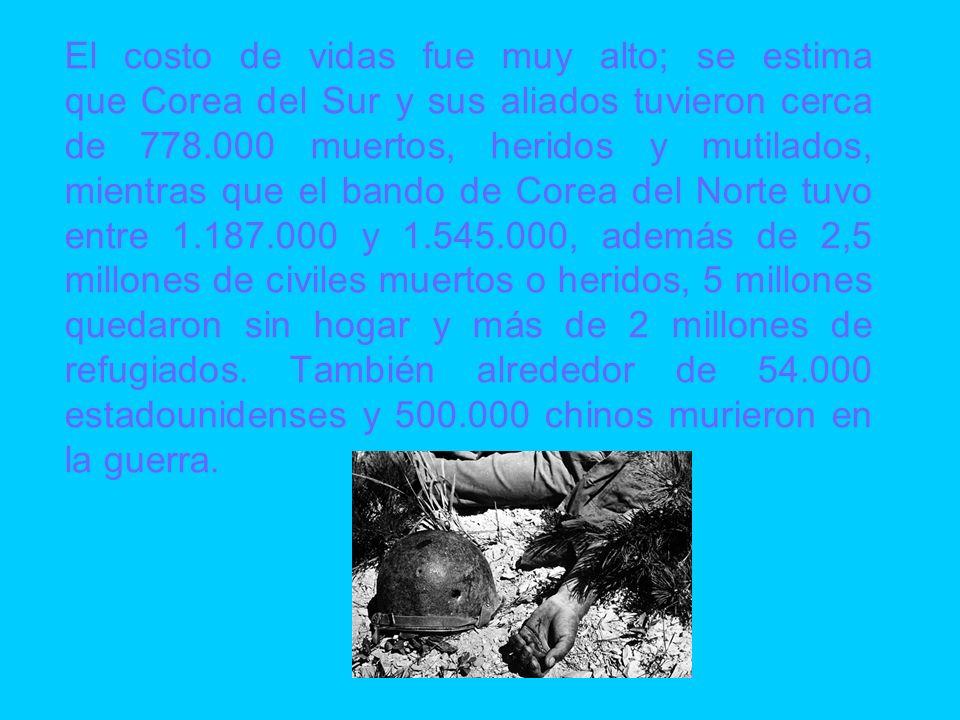 El costo de vidas fue muy alto; se estima que Corea del Sur y sus aliados tuvieron cerca de 778.000 muertos, heridos y mutilados, mientras que el bando de Corea del Norte tuvo entre 1.187.000 y 1.545.000, además de 2,5 millones de civiles muertos o heridos, 5 millones quedaron sin hogar y más de 2 millones de refugiados.