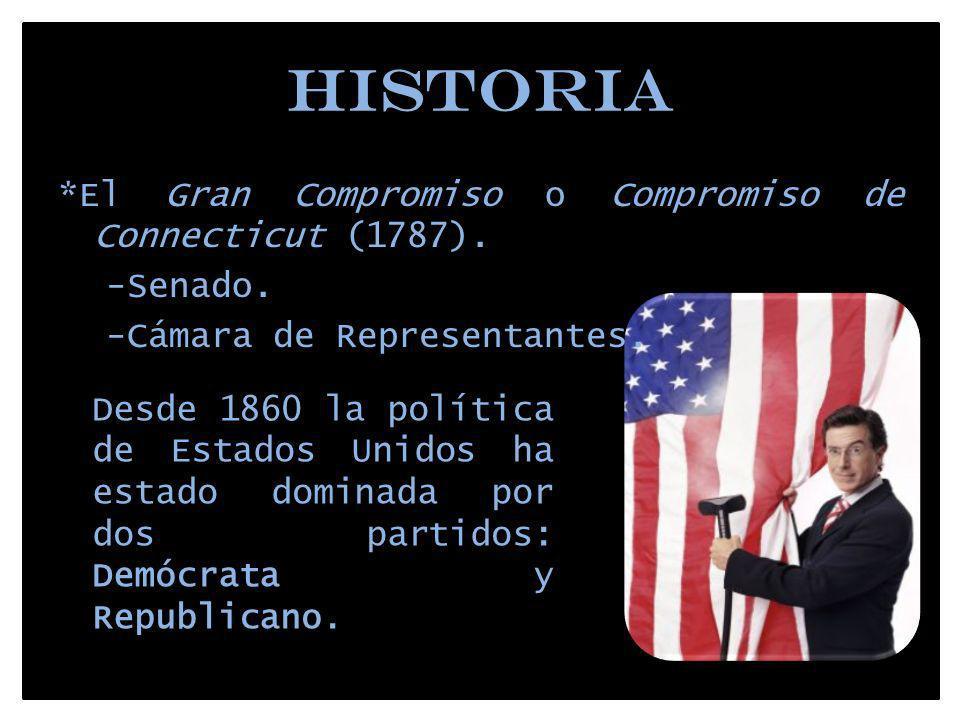 HISTORIA *El Gran Compromiso o Compromiso de Connecticut (1787). -Senado. -Cámara de Representantes. Desde 1860 la política de Estados Unidos ha estad