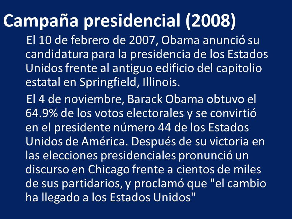 El 10 de febrero de 2007, Obama anunció su candidatura para la presidencia de los Estados Unidos frente al antiguo edificio del capitolio estatal en S