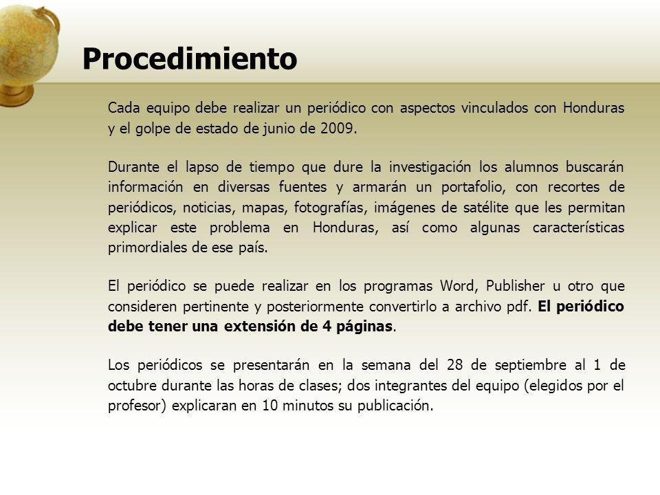 Procedimiento Cada equipo debe realizar un periódico con aspectos vinculados con Honduras y el golpe de estado de junio de 2009. Durante el lapso de t
