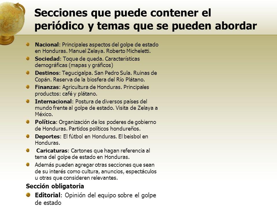 Secciones que puede contener el periódico y temas que se pueden abordar Nacional: Principales aspectos del golpe de estado en Honduras. Manuel Zelaya.