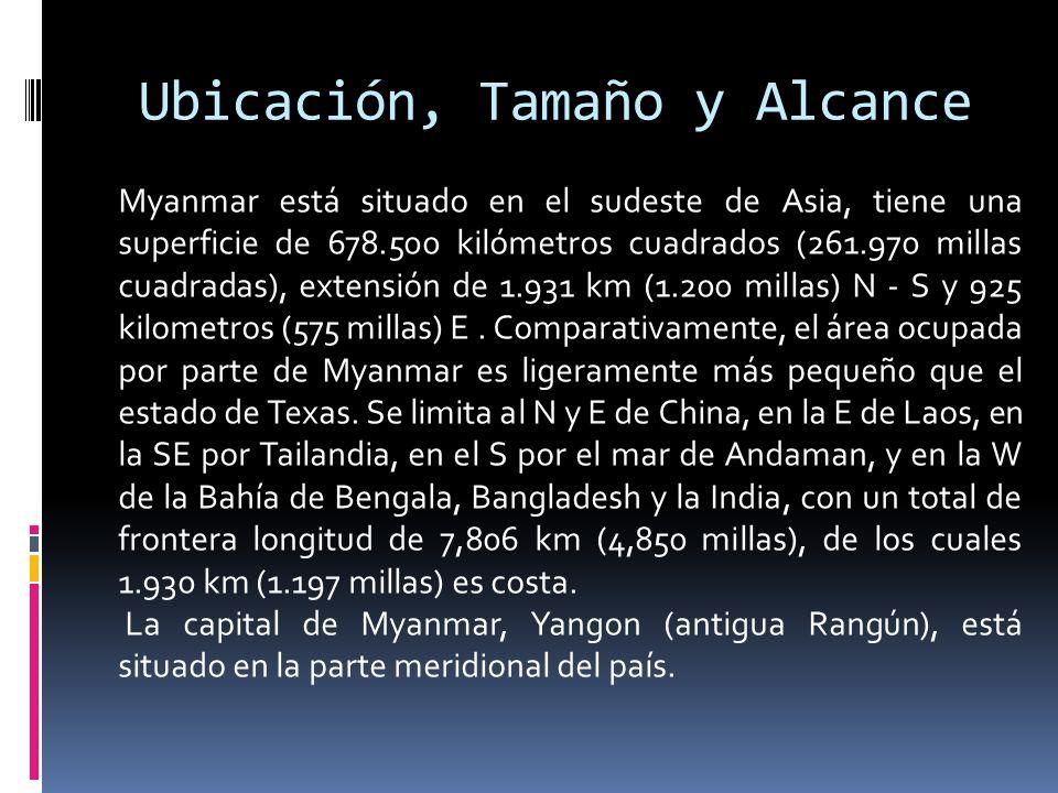 Ubicación, Tamaño y Alcance Myanmar está situado en el sudeste de Asia, tiene una superficie de 678.500 kilómetros cuadrados (261.970 millas cuadradas
