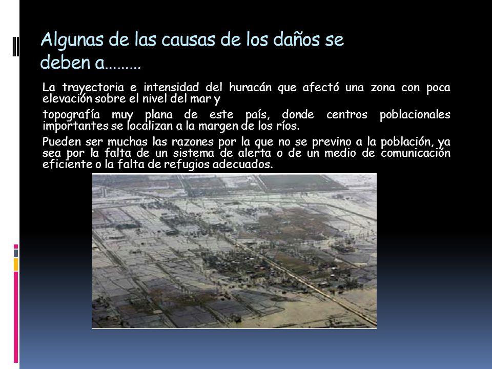 Algunas de las causas de los daños se deben a……… La trayectoria e intensidad del huracán que afectó una zona con poca elevación sobre el nivel del mar