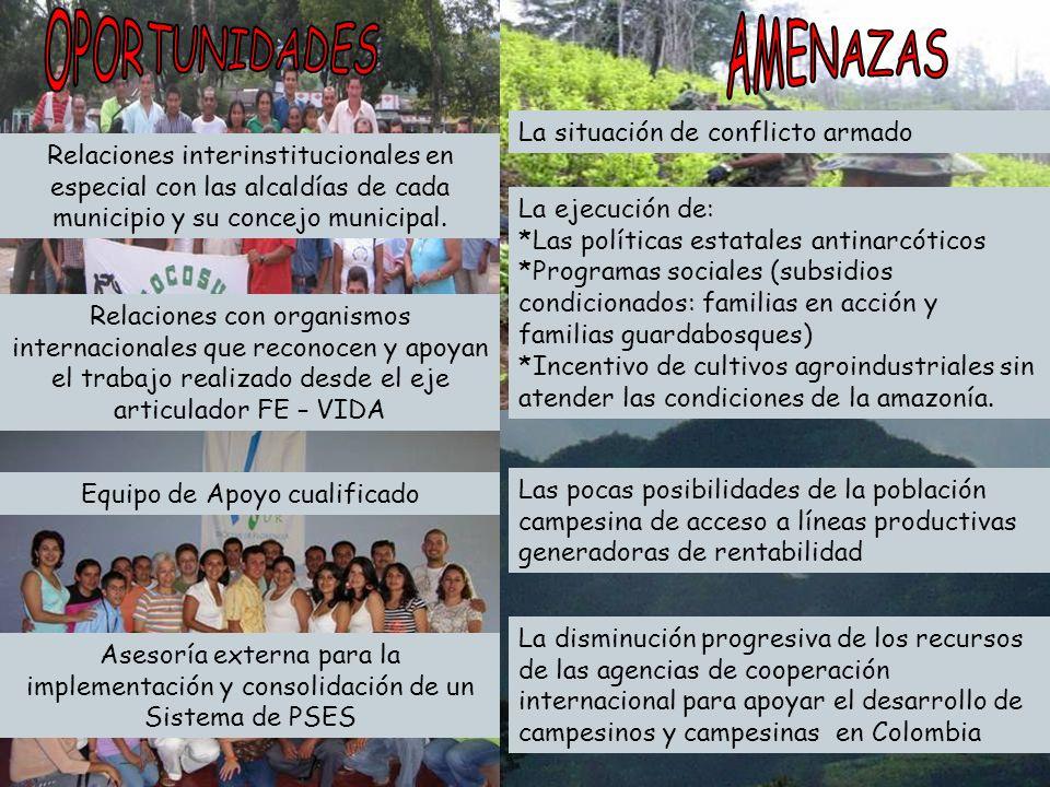 Relaciones interinstitucionales en especial con las alcaldías de cada municipio y su concejo municipal. Relaciones con organismos internacionales que