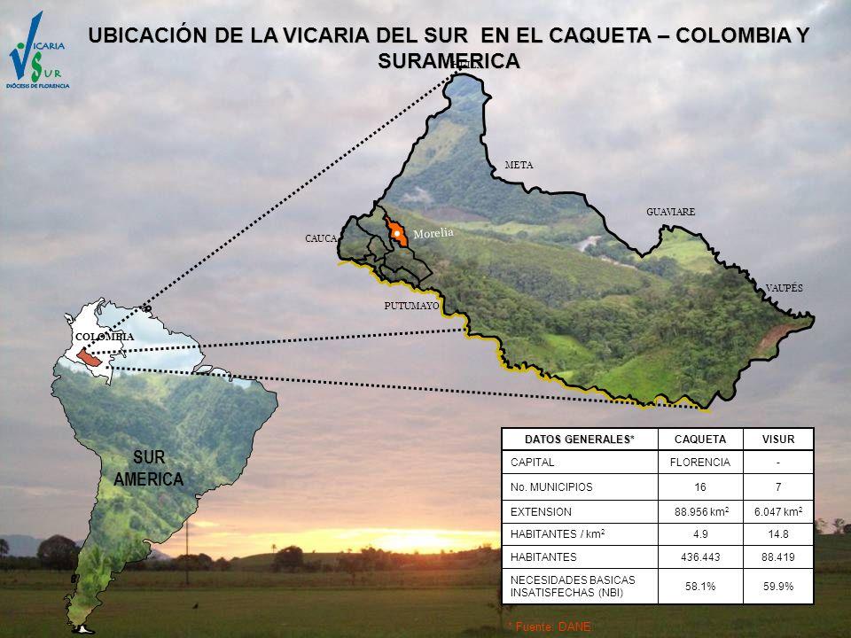 UBICACIÓN DE LA VICARIA DEL SUR EN EL CAQUETA – COLOMBIA Y SURAMERICA Morelia COLOMBIA SUR AMERICA META GUAVIARE VAUPÉS HUILA PUTUMAYO CAUCA 14.84.9HA