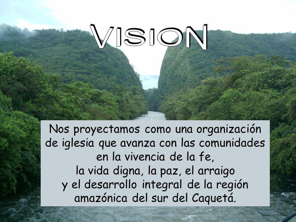 VISION: Nos proyectamos como una organizaci ó n de iglesia que avanza con las comunidades en la vivencia de la fe, la vida digna, la paz, el arraigo y