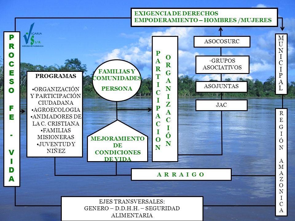 PROGRAMAS ORGANIZACIÓN Y PARTICIPACIÓN CIUDADANA AGROECOLOGIA ANIMADORES DE LA C. CRISTIANA FAMILIAS MISIONERAS JUVENTUD Y NIÑEZ JAC ASOJUNTAS ASOCOSU