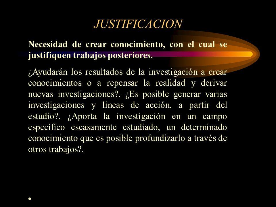 JUSTIFICACION Necesidad de crear conocimiento, con el cual se justifiquen trabajos posteriores. ¿Ayudarán los resultados de la investigación a crear c