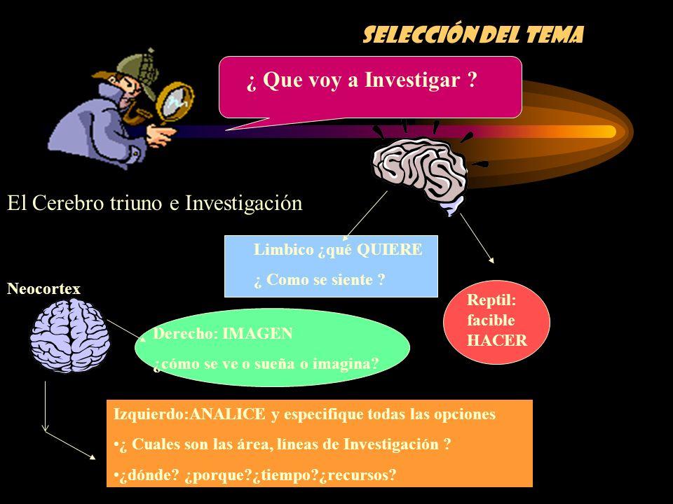 Selección del tema El Cerebro triuno e Investigación ¿ Que voy a Investigar ? Derecho: IMAGEN ¿cómo se ve o sueña o imagina? Limbico ¿qué QUIERE ¿ Com