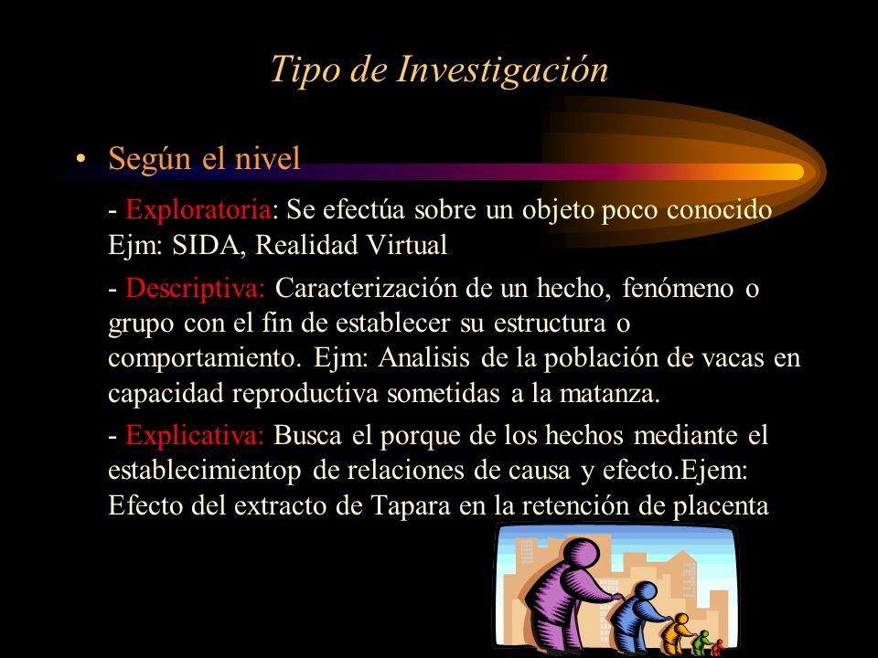 Tipo de Investigación Según el nivel - Exploratoria: Se efectúa sobre un objeto poco conocido Ejm: SIDA, Realidad Virtual - Descriptiva: Caracterizaci
